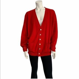 Vintage cashmere red cable knit cardigan